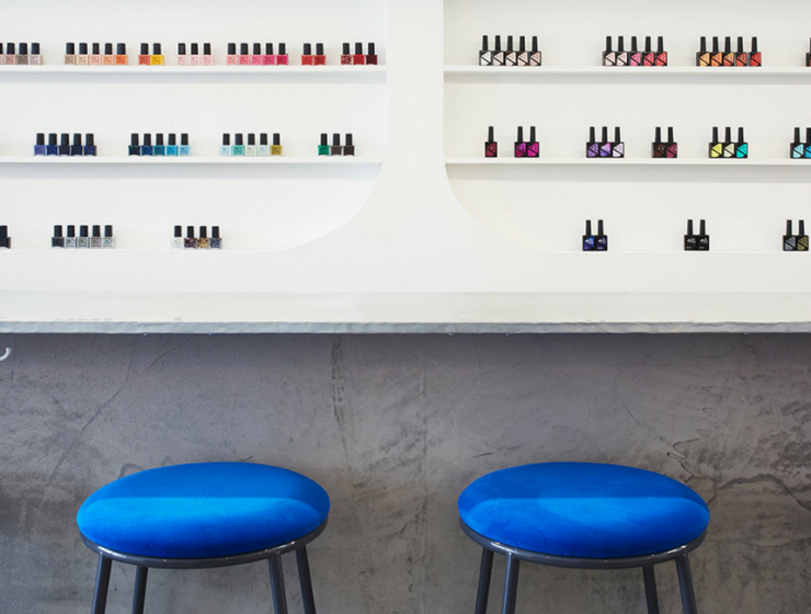 A Minimalist Nail Bar in LA with Cheery Mid-Century Bar Stools