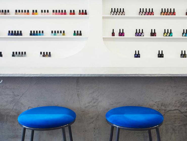 A Minimalist Nail Bar in LA with Cheery Mid-Century Bar Stools