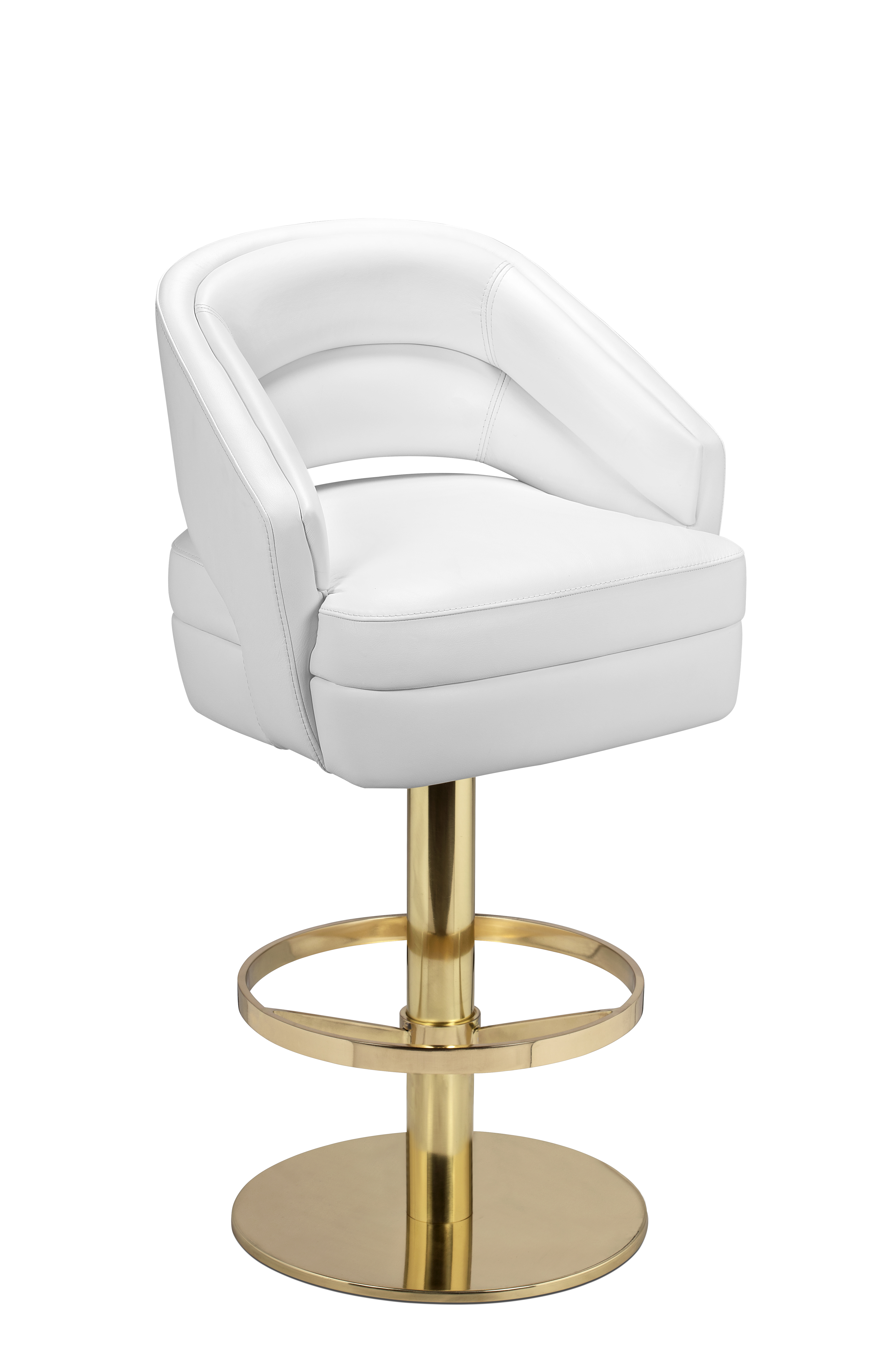If You Re Feeling Fancy This White Leather Mid Century Bar Chair Is The Perfect Fit For A Swivel That Can Be 100 Customized To Your
