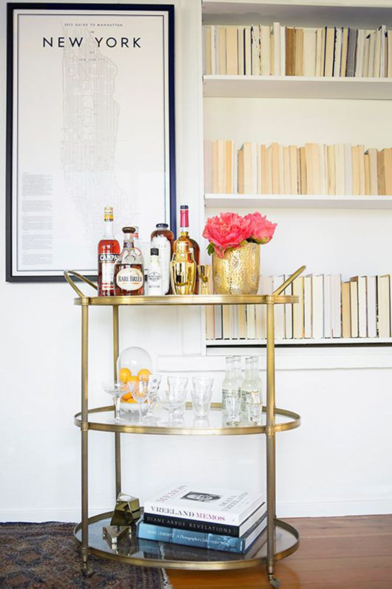 Gold Bar Cart The Secret for a Mid-Century Home Bar Decor_1