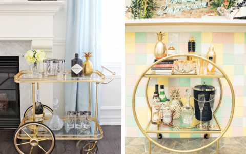 6 Best Bar Carts With Polished Brass For Your Mid-Century Home