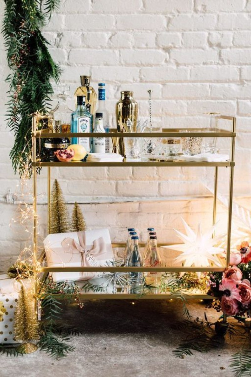 Learn How To Turn Your Home Bar Cart Into A Christmas Party Special