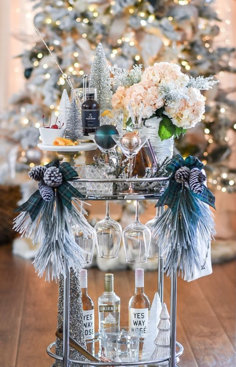 Learn How To Turn Your Home Bar Cart Into A Christmas Party Special Bar Stools Furniture