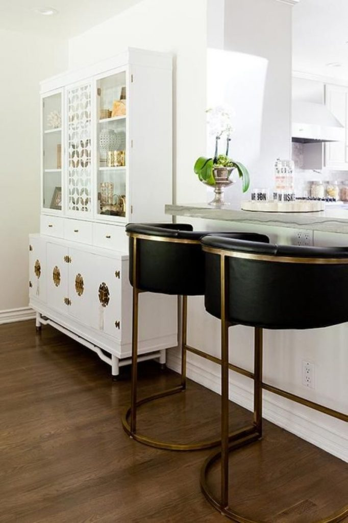 Stay Neutral With These Unique Black Leather Bar Stools!